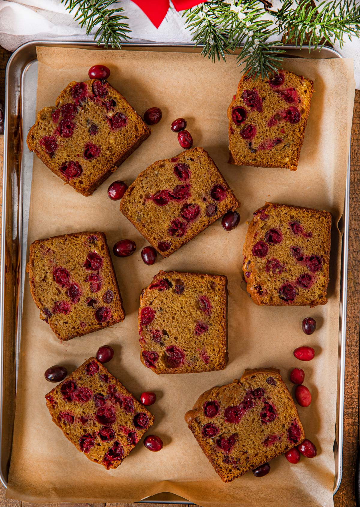 Pumpkin Cranberry Bread slices in pan