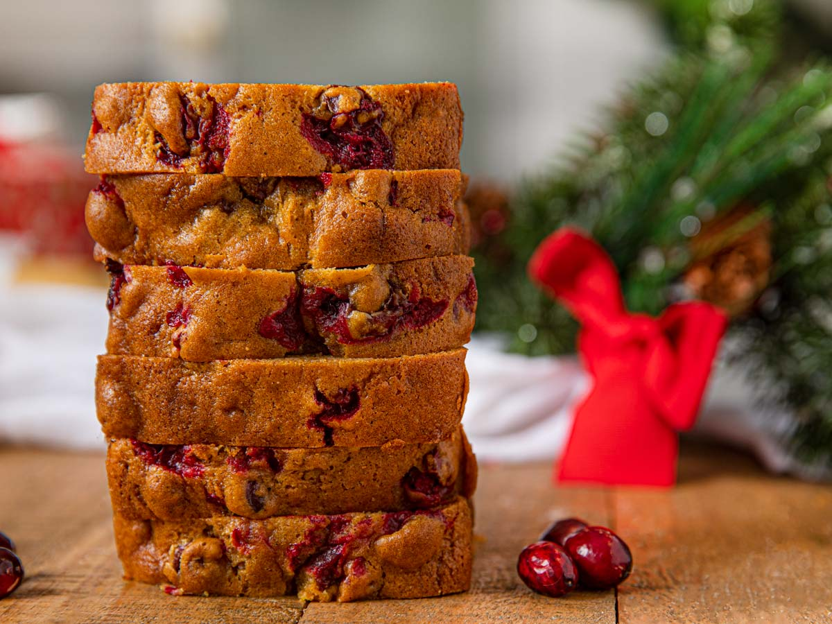 Pumpkin Cranberry Bread stack