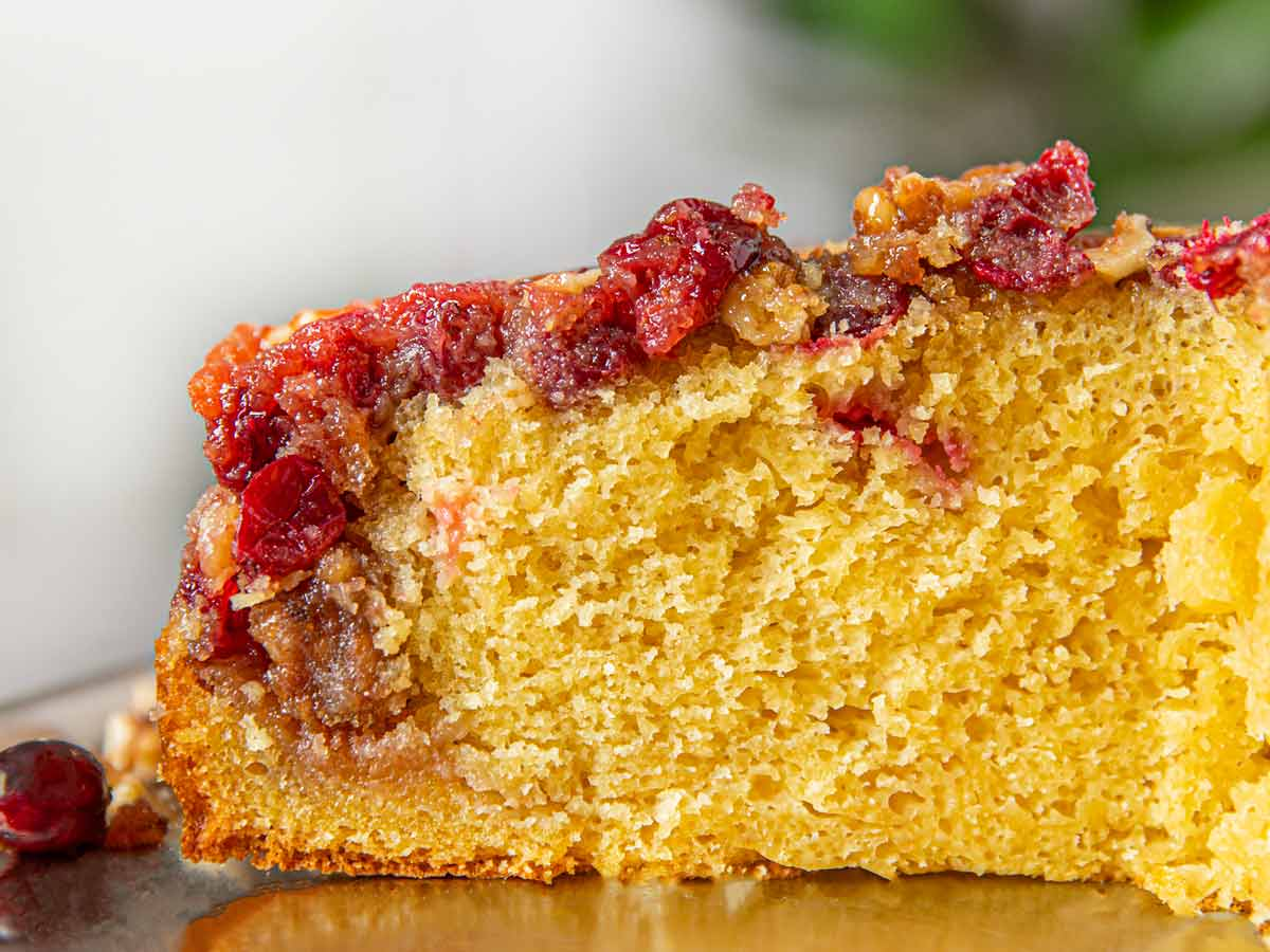 Cranberry Upside Down Cake Slice