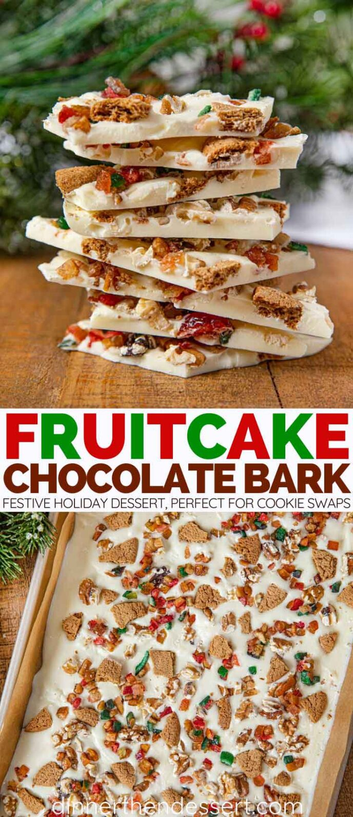 Fruit Cake Chocolate Bark collage