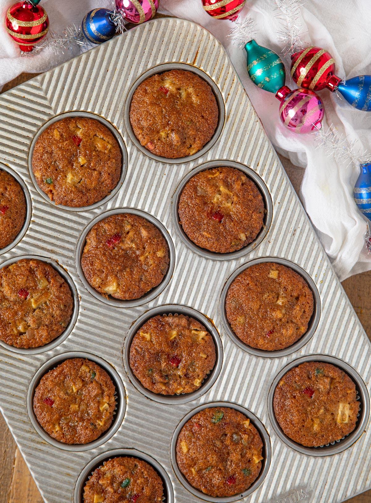 Fruit Cake Muffins in muffin tin