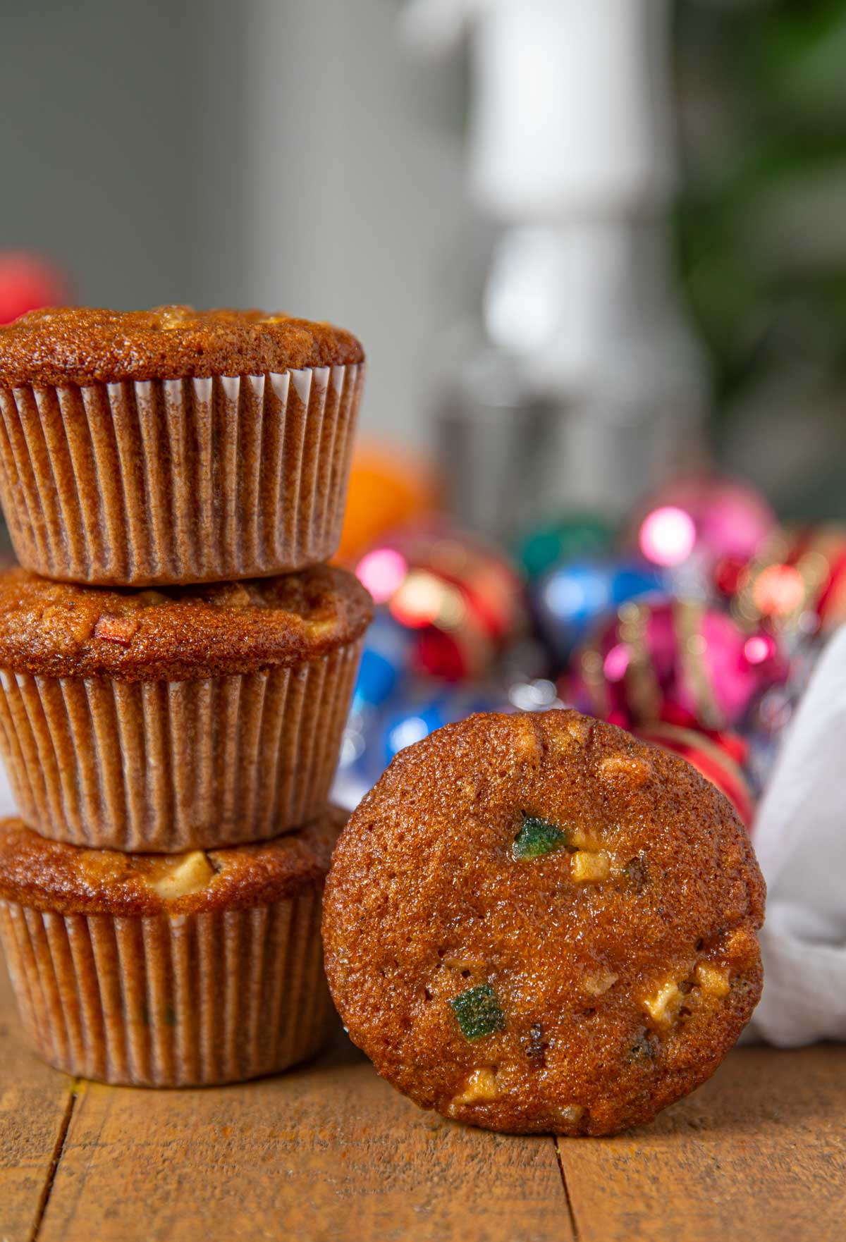 Fruit Cake Muffins in stack