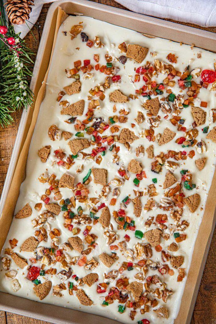 Fruitcake Bark in a baking sheet