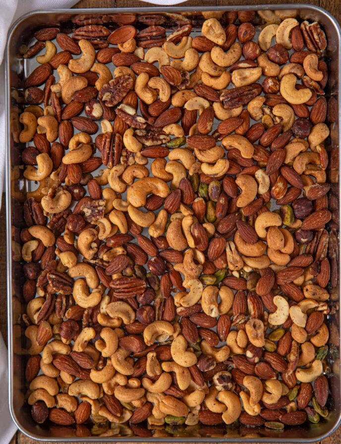 Mixed Nuts on baking sheet