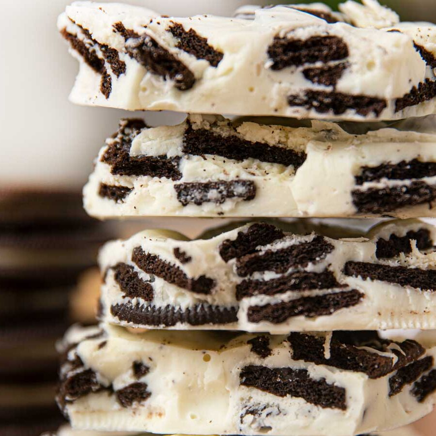 Oreo White Chocolate Bark in a stack