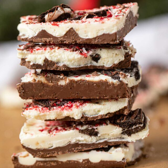 Peppermint Oreo Bark in a stack