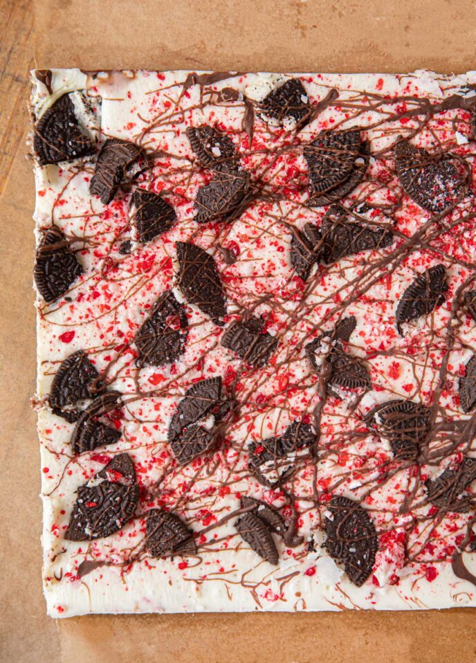 Slab of Peppermint Oreo Bark