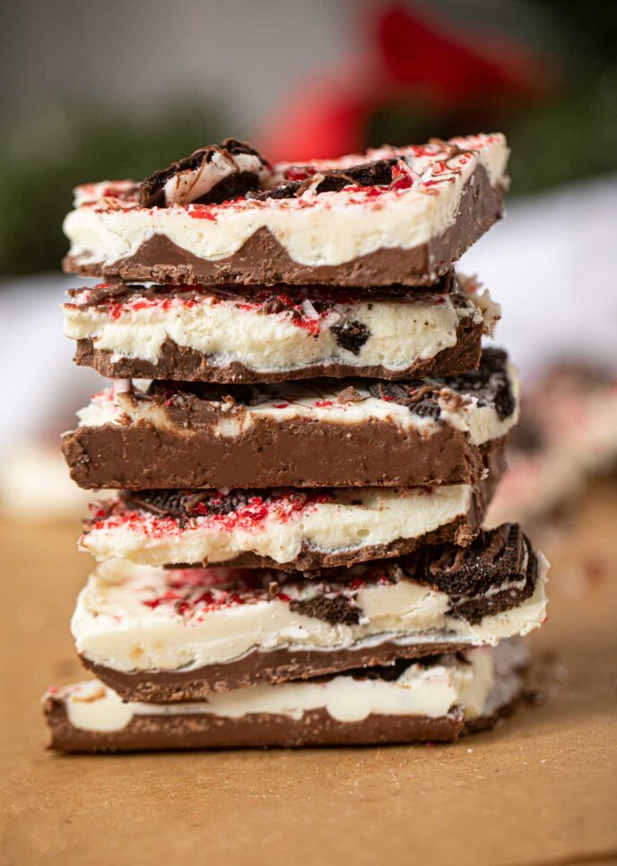 Stack of Peppermint Oreo Bark Candy