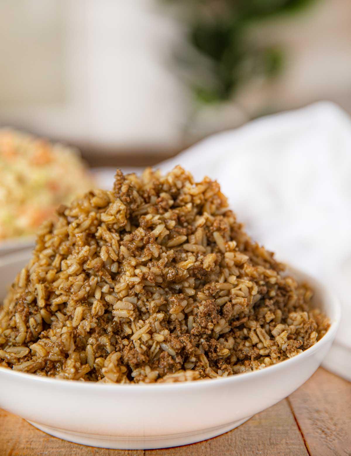Popeyes Cajun Rice in white bowl