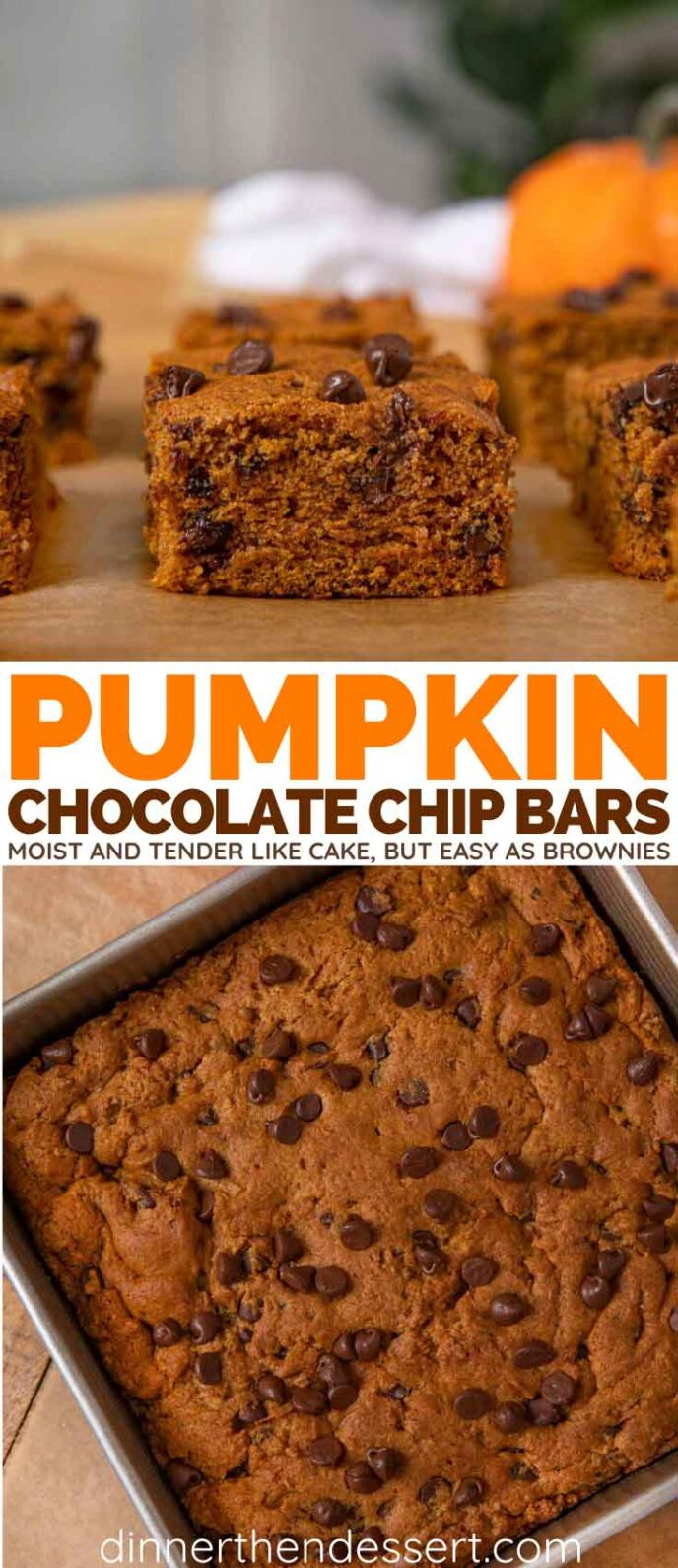 Chocolate Chip Pumpkin Bars collage
