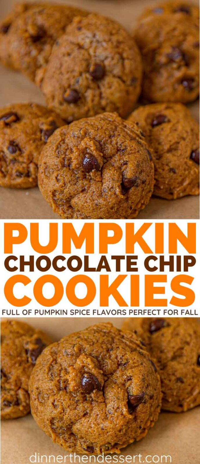 Pumpkin Cookies with Chocolate Chips collage