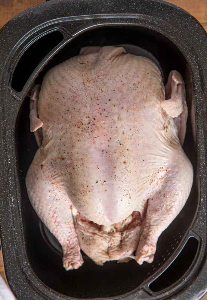 Raw Turkey in Electric Roaster