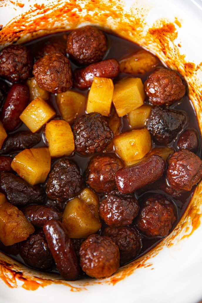 Crockpot BBQ Pineapple Beef Meatballs