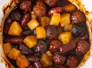 Crockpot Pineapple Meatball Smokies