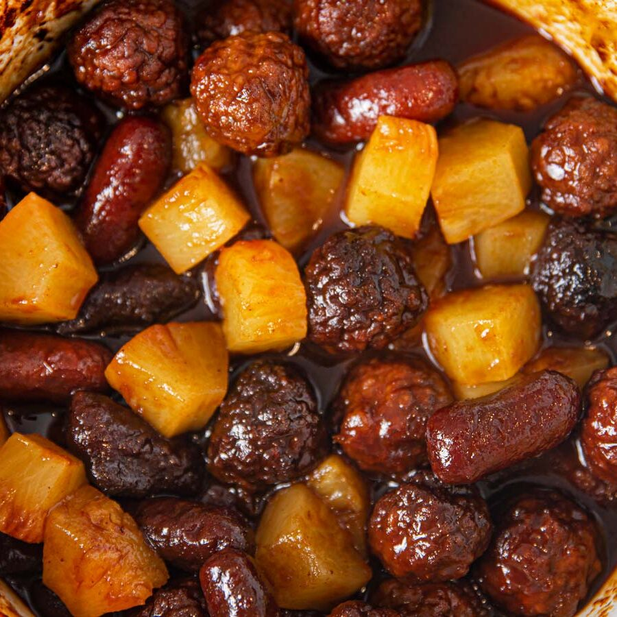 Crockpot Pineapple Meatball Smokies