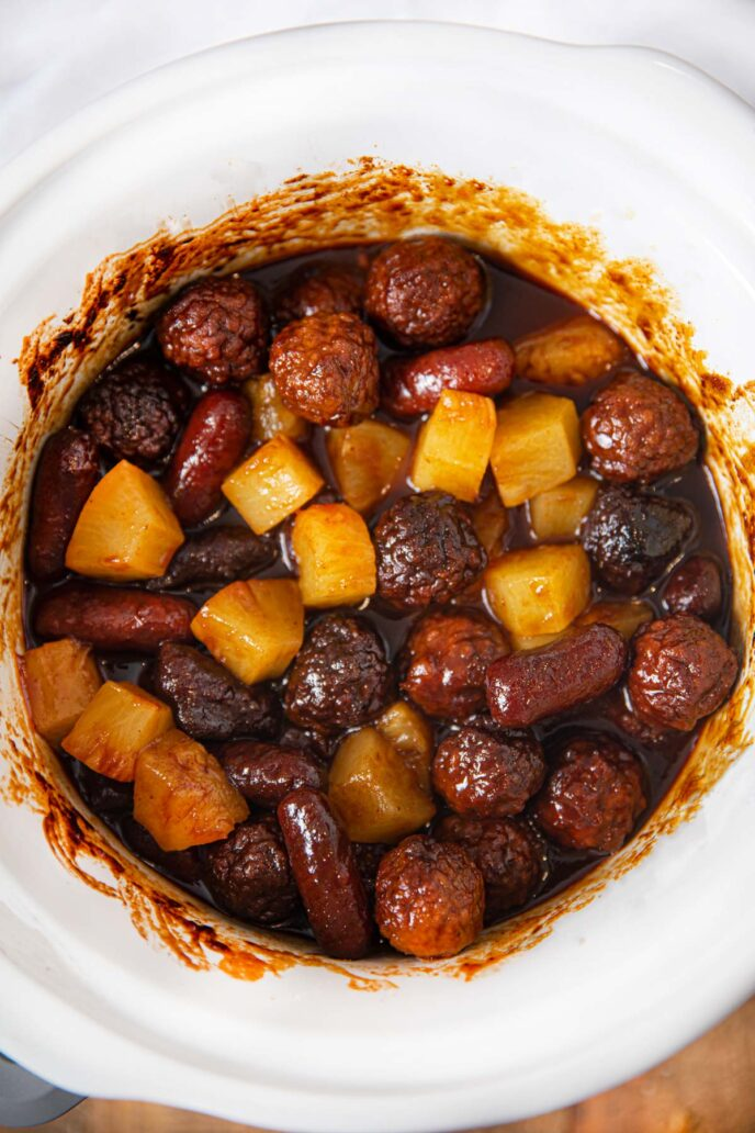 Slow Cooker Meatball Pineapple Smokies