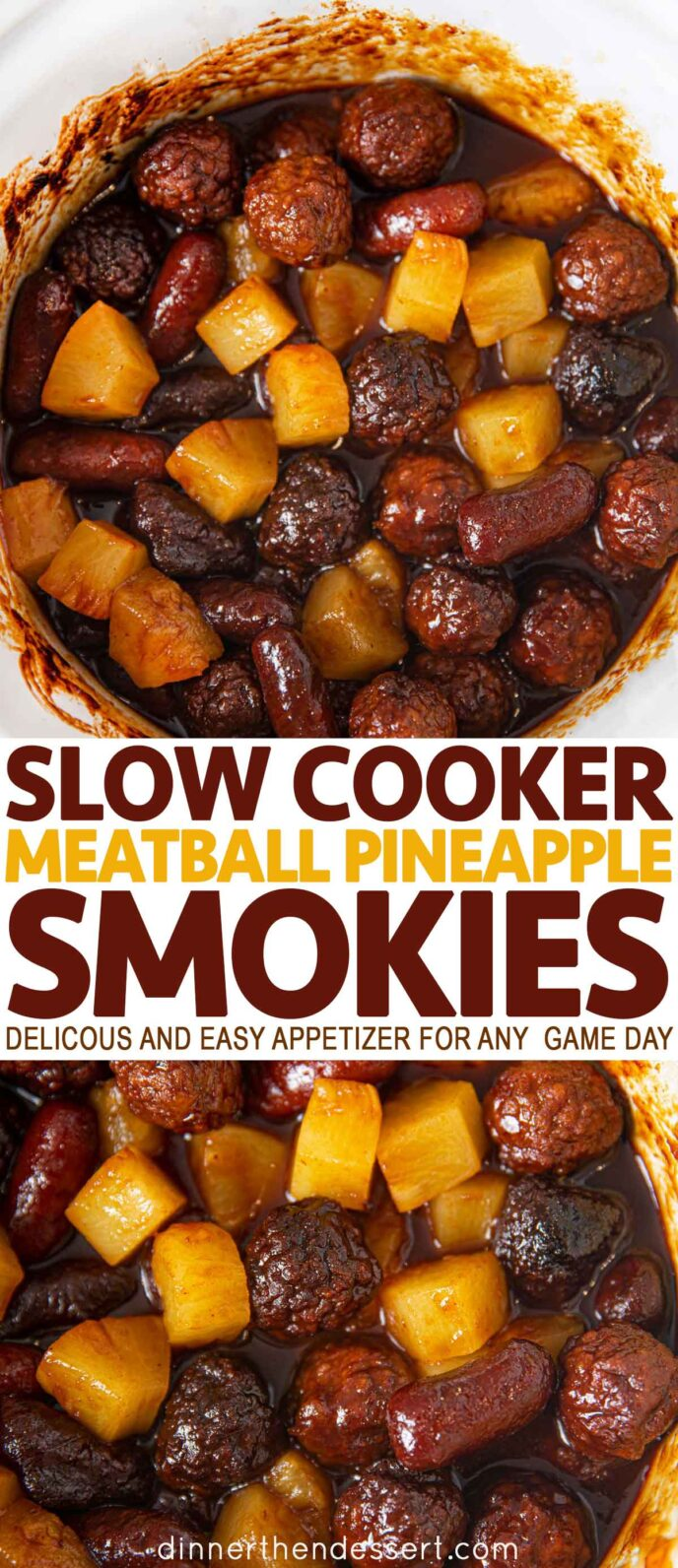 Meatball Pineapple Smokies in a slow cooker