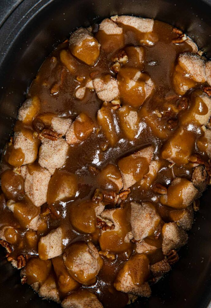 Crockpot Monkey Bread before cooking