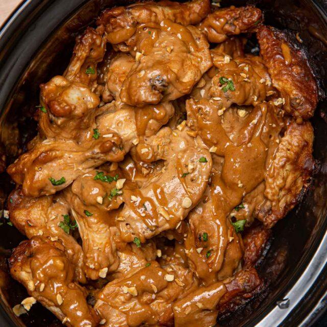 Crockpot Thai Peanut Wings