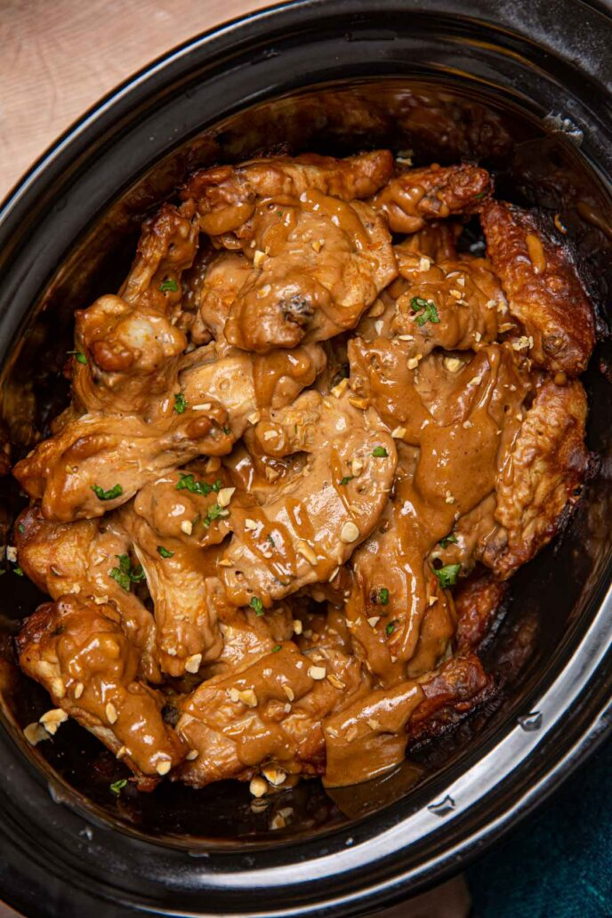Crockpot Thai Peanut Wings