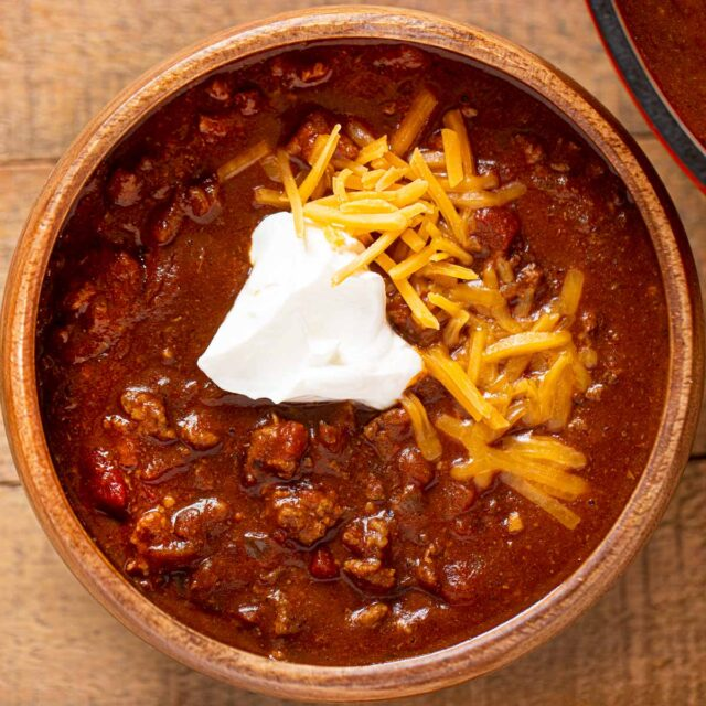Bowl of Texas Chili with cheese and sour cream