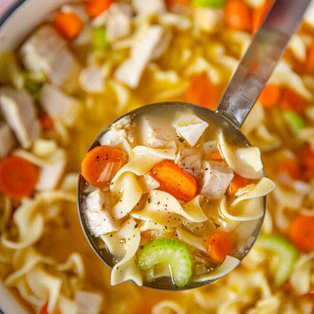 Ladle turkey soup