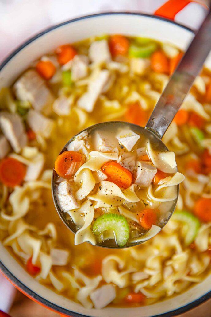 Turkey Soup in ladle