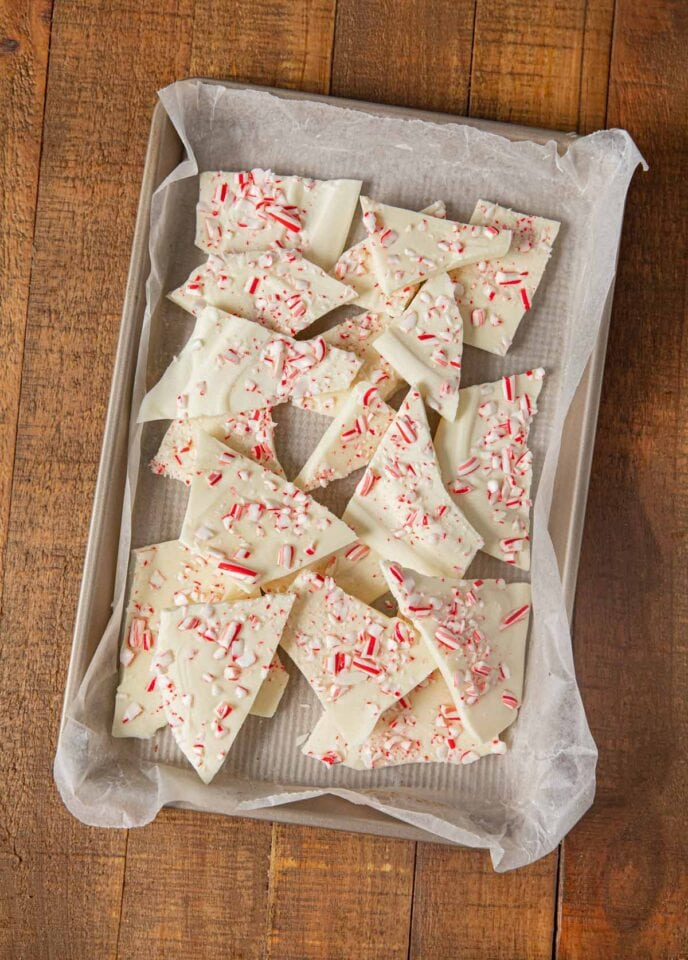 White Chocolate Candy Cane Bark pieces on baking sheet