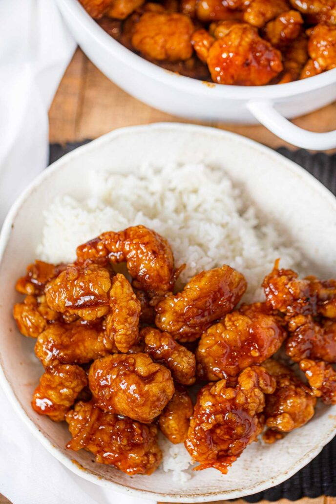 Three Ingredient Orange Chicken and bowl