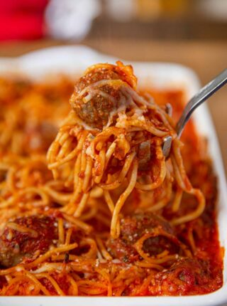 Scoop of Baked Spaghetti and Meatballs