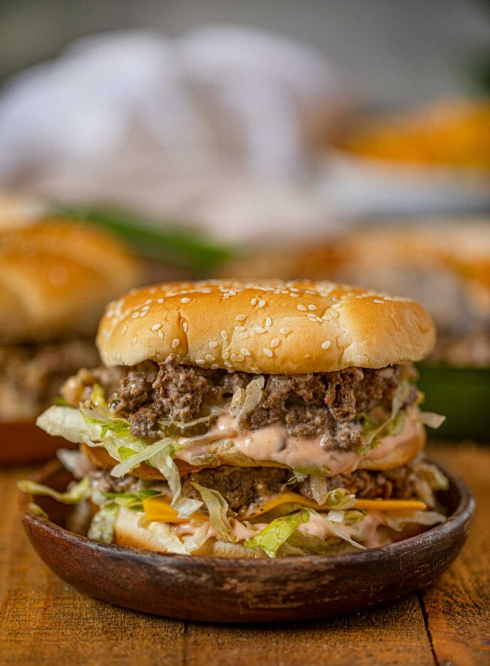 Big Mac Sloppy Joes on wooden plate