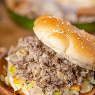 Big Mac Sloppy Joe on Sesame Seed Bun with American Cheese and Shredded Lettuce