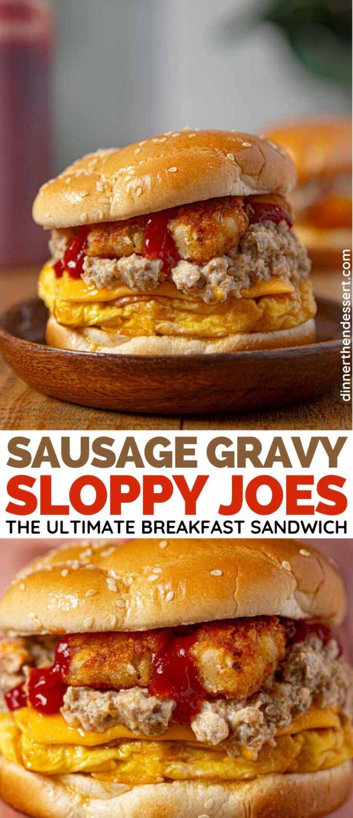 Sausage Gravy Breakfast Sloppy Joes collage