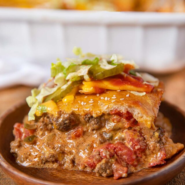 Cheeseburger Casserole on a plate