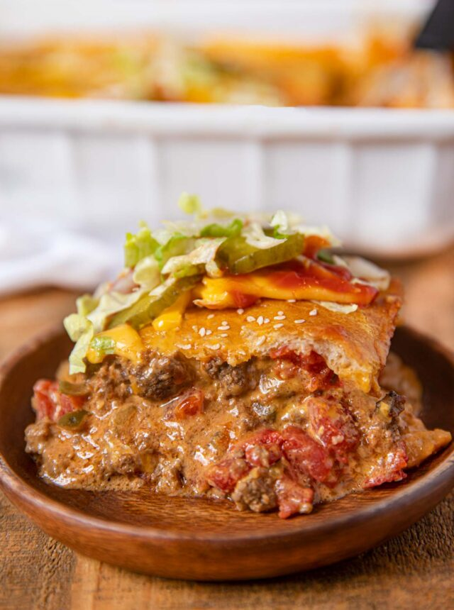 Cheeseburger Casserole on a plate