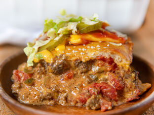 Piece of Cheeseburger Casserole on plate