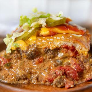 Piece of Cheeseburger Casserole on plate