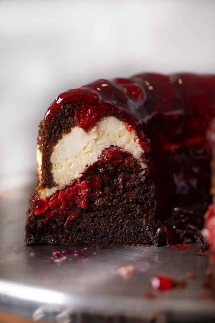 Chocolate Cheesecake Bundt Cake with Cherries