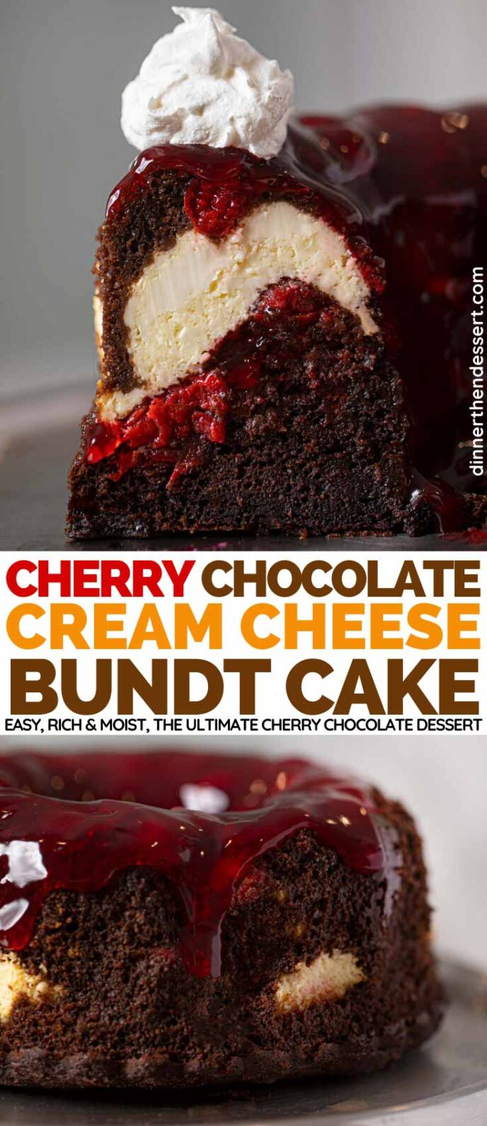 Cherry Chocolate Cream Cheese Bundt Cake collage
