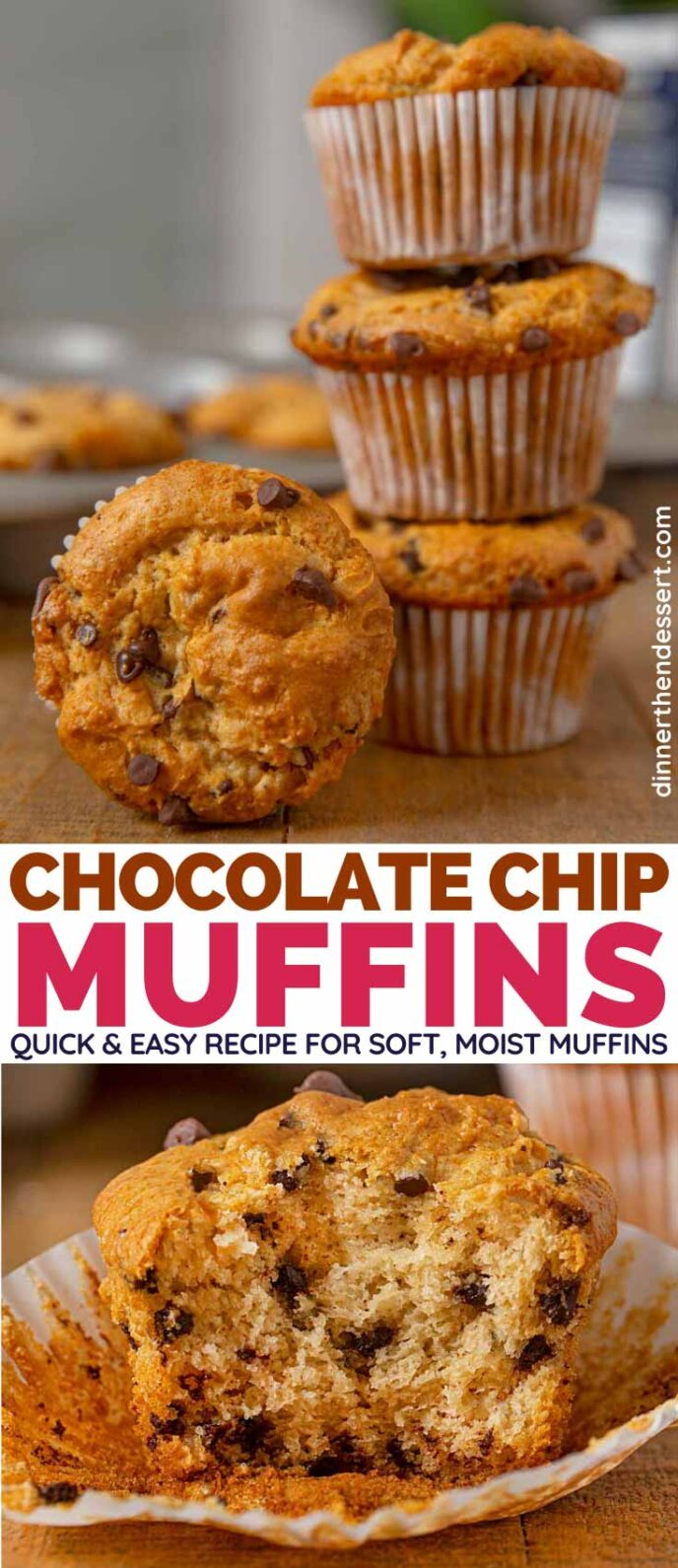 Chocolate Chip Muffins collage