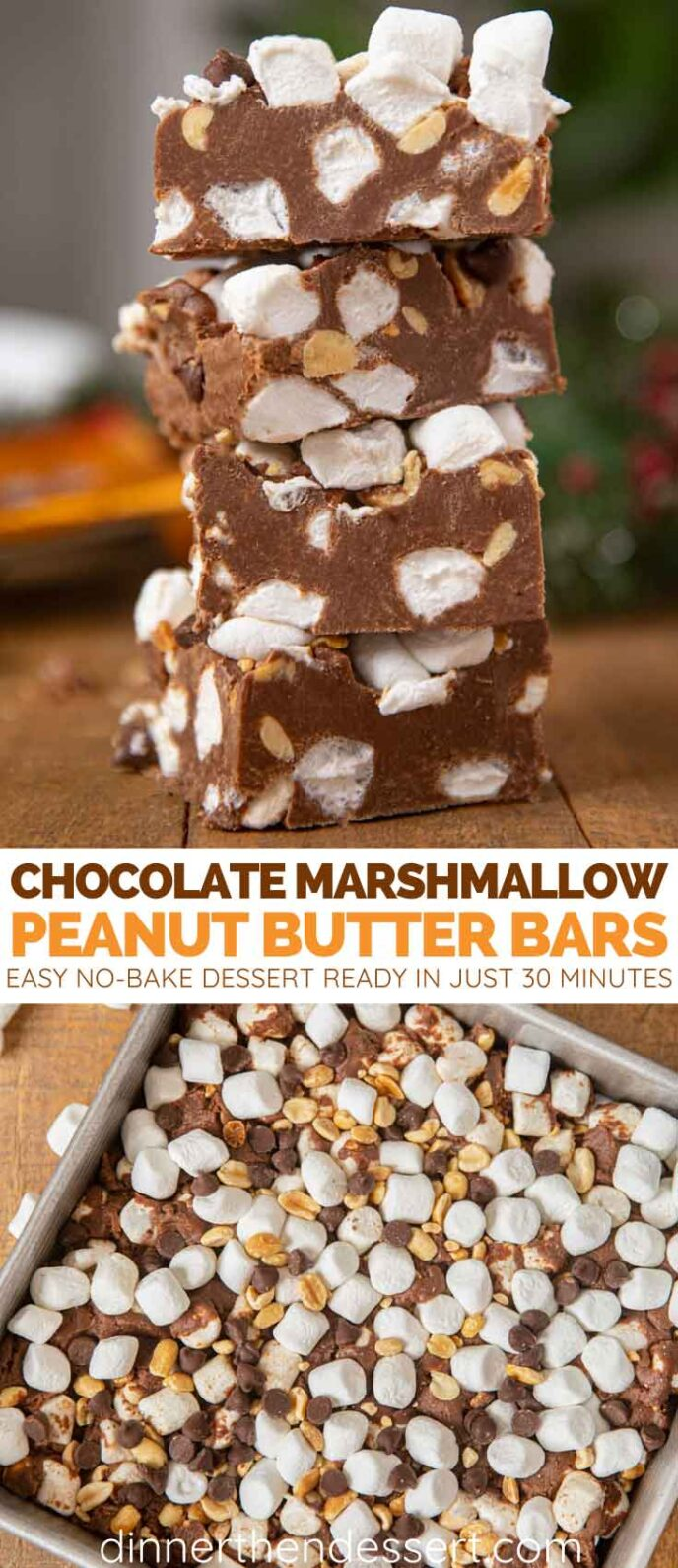 Peanut Butter Chocolate Marshmallow Bars collage