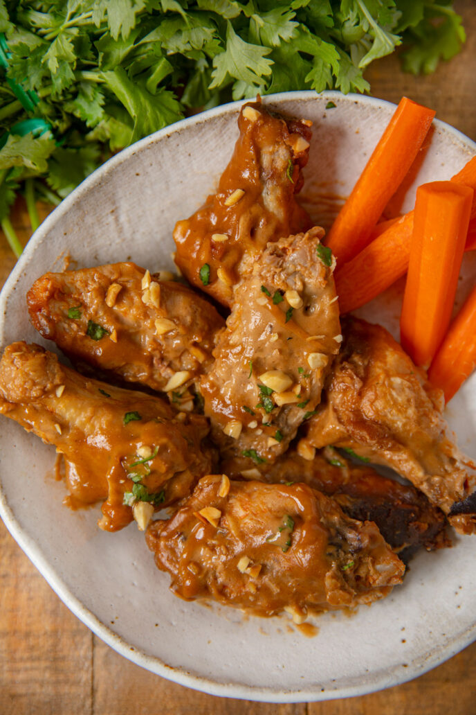 Crockpot Thai Peanut Chicken Wings