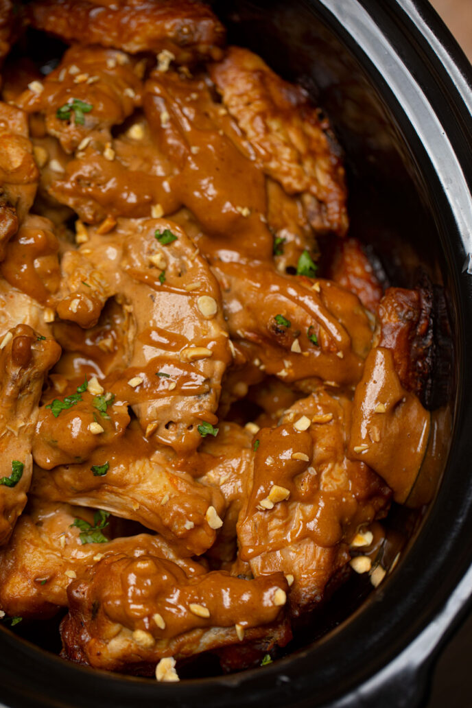 Crockpot Chicken Wings with Thai Peanut Sauce