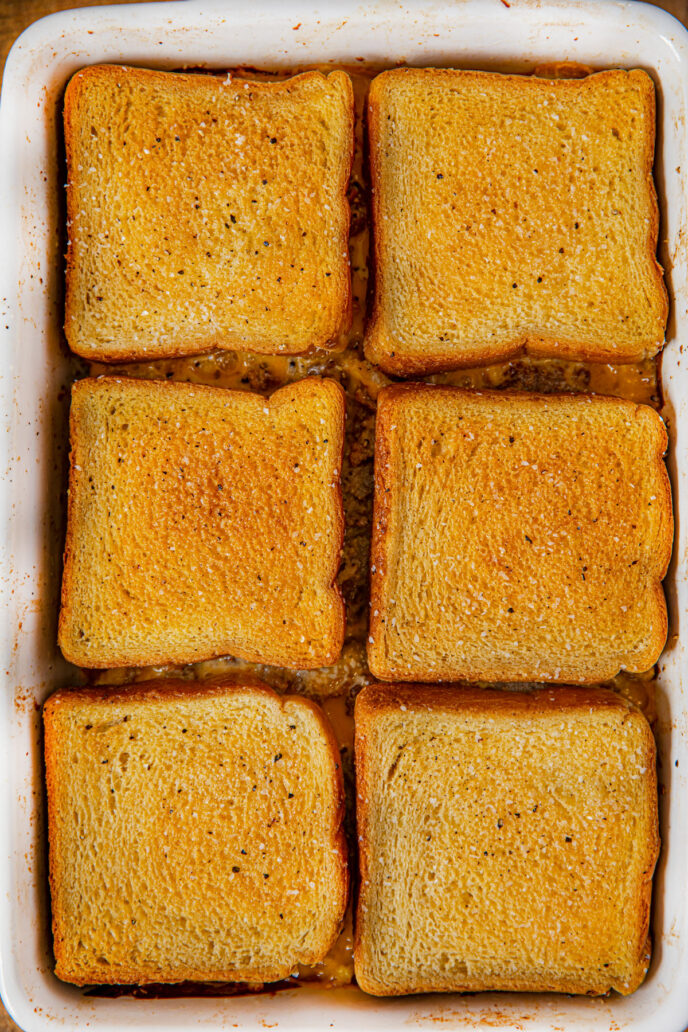Tray of Breakfast Grilled Cheese Casserole