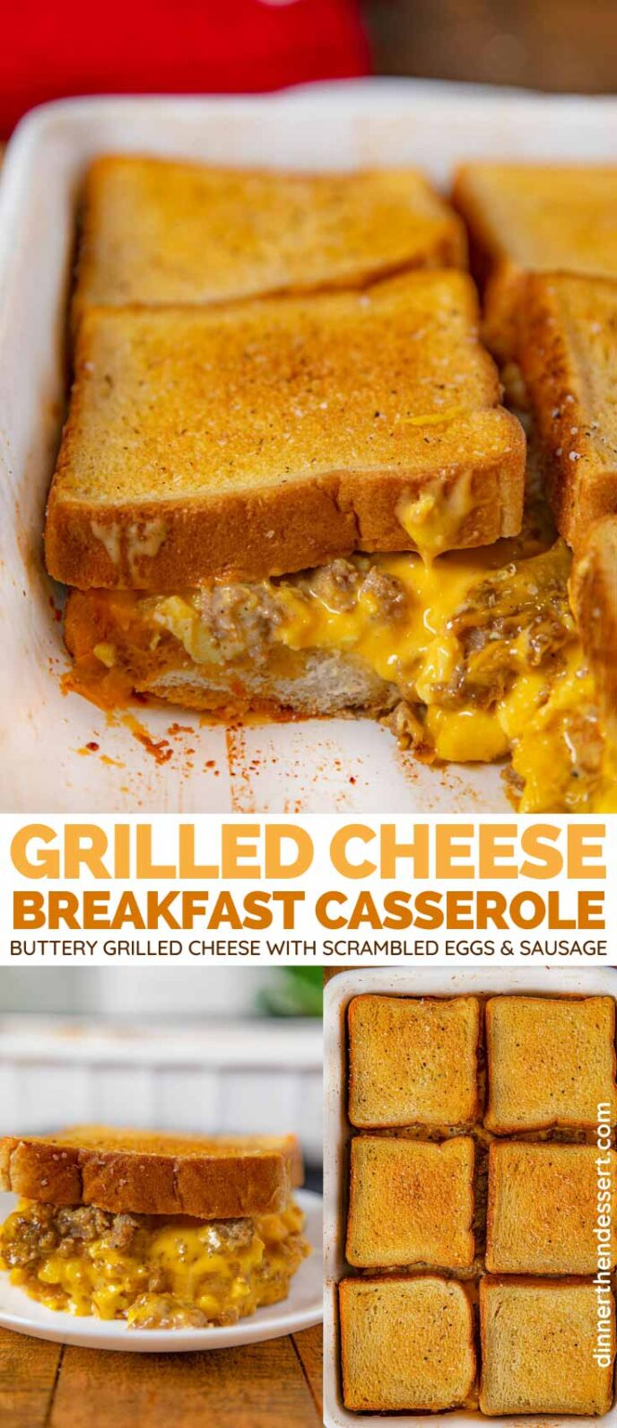 Grilled Cheese Breakfast Casserole collage