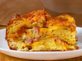 Ham Cheese and Egg Croissant Casserole