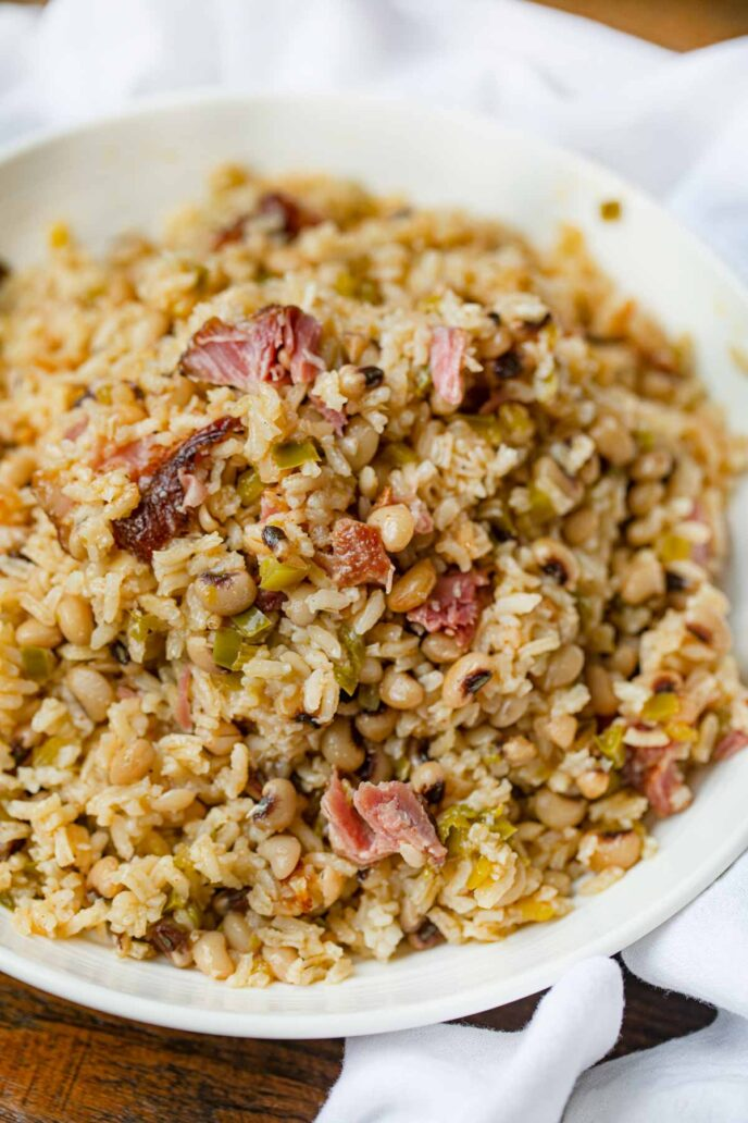 Hoppin' Johns in white plate