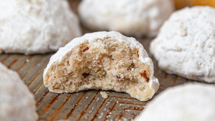 Italian Wedding Cookies on cookie sheet