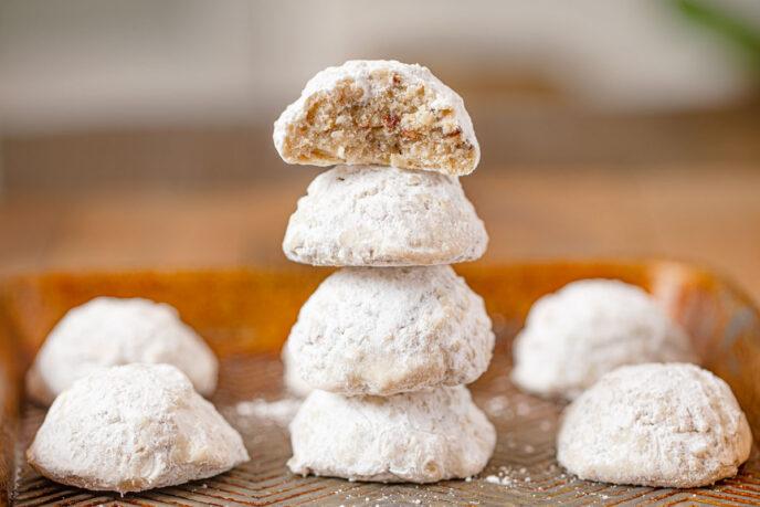 Italian Wedding Cookies in mini stack