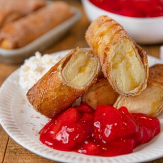 Strawberry Glaze with Cheesecake Egg Roll